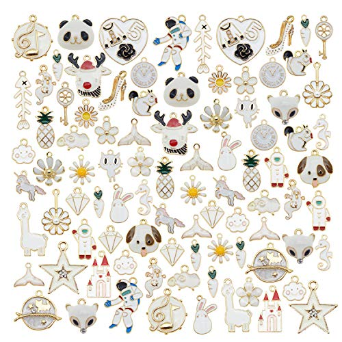 40pcs(20PAIRS) Assorted Gold Plated Enamel Animals Fruit Moon Star Dainty Dangle Flowers Pendants Charms for Jewelry Making Necklace Bracelet, White Theme