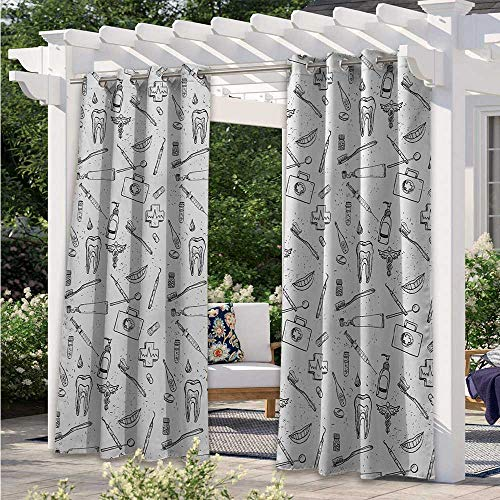 Adorise Print Curtains Hand Drawn Style Medical Pattern with Dental Hygiene Theme Teeth Care Cleaning Waterproof Blackout Drapery for Pergola/Porch Black White W120 x L96 Inch