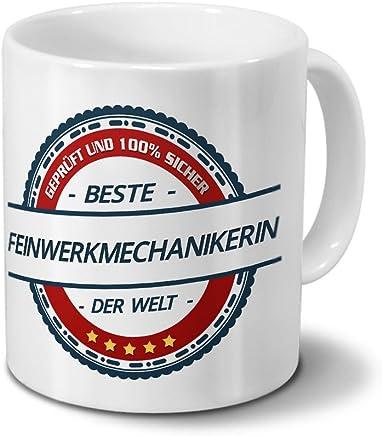 Preisvergleich für Tasse mit Beruf Feinwerkmechanikerin - Motiv Berufe - Kaffeebecher, Mug, Becher, Kaffeetasse - Farbe Weiß