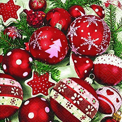 Servietten 20 St. 33x33cm. Weihnacht, Christbaumkugeln rot weiß / SNOW WHITE IN RED