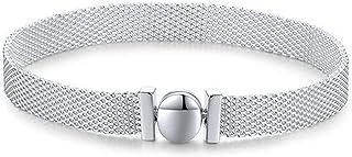 S925 الفضة الاسترليني سوار - سوار للنساء ملون ملون BPقفل بسيط للفتيات,17سم