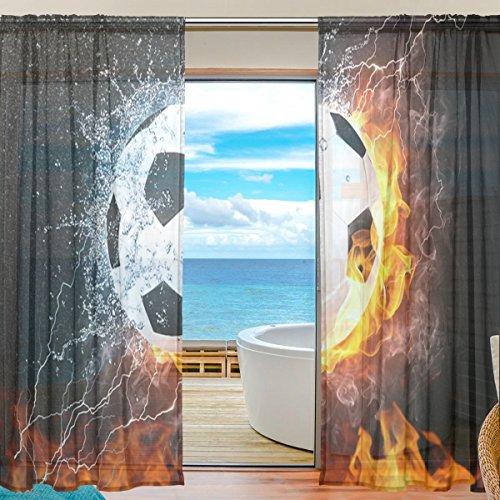 yibaihe Fenster Sheer Vorhänge Panels Voile Drapes Tüll Vorhänge Schöne Einrichtung Brennender Fussball Muster 140 W x 198cm L 2Einsätze für Wohnzimmer Schlafzimmer Girl 's Room