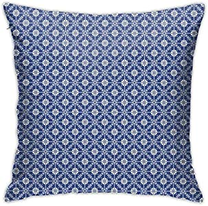 DHNKW Throw Pillow Case Cushion Cover,Continuous Traditional Portuguese Spanish Folk Floral Illustration ,18x18 Inches