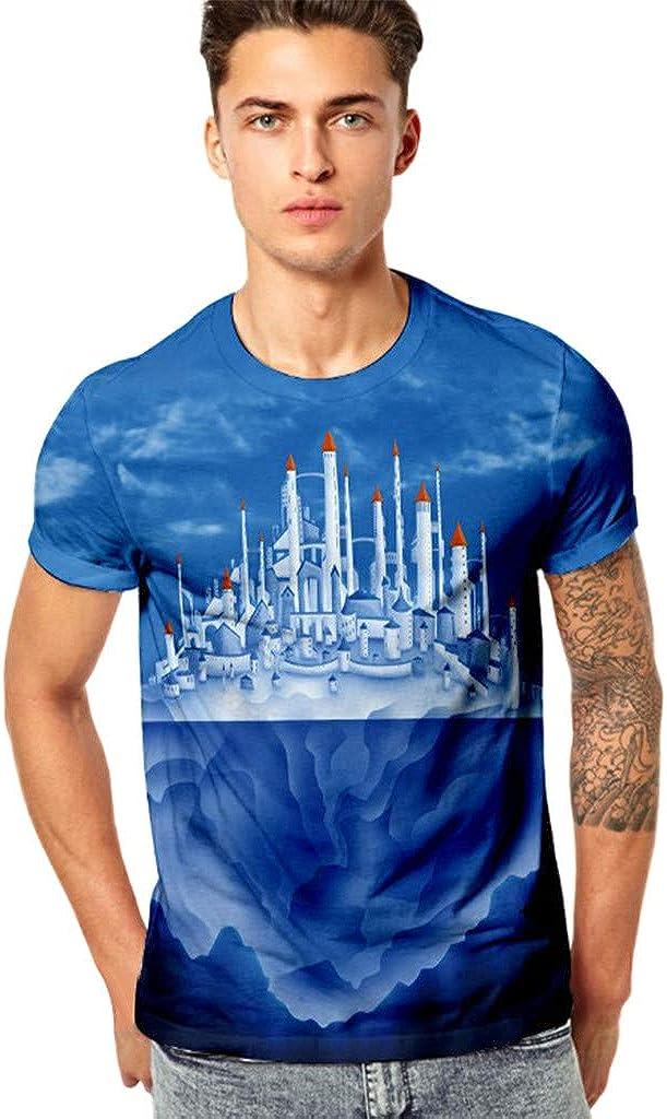 Men's Funny 3D Printing Fitness Elastic Short Sleeve T-Shirt Top Blouse
