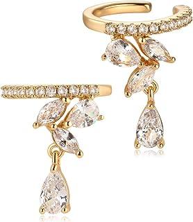 MYEARS - Pendientes para mujer, diseño de cartílago sin perforación, con clip abierto, chapado en oro de 14 quilates, senc...