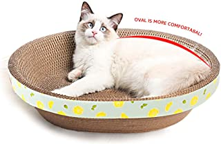 LucaSng Oval Cat Scratcher Lounge Cardboard Scratch Pad Large Cats Bed Scratching Box with Catnip (17.7'')