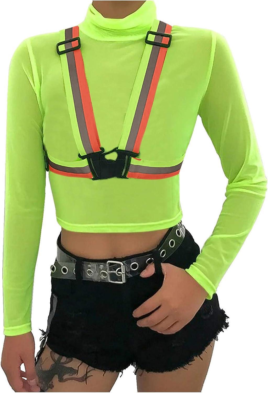 Cropped Workout Tops for Women Versatile Fashion Reflective Adjustable Elastic Belt Long Sleeve Vest