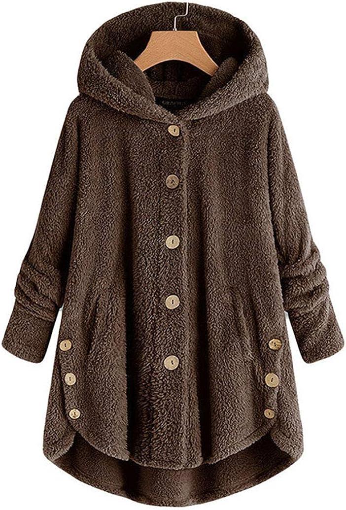 lisenraIn Women's Long Sleeve Fluffy Faux Coat Winter Plus Size Button Down Jackets with Hood