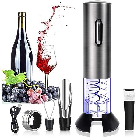 Blau Cabilock Elektrischer Wein/öffner Wiederaufladbarer Korkenzieher mit USB-Ladeleitung Weinflaschen/öffner Ladekorkenzieher Vakuumpumpstopper Ideal f/ür Weinliebhaber