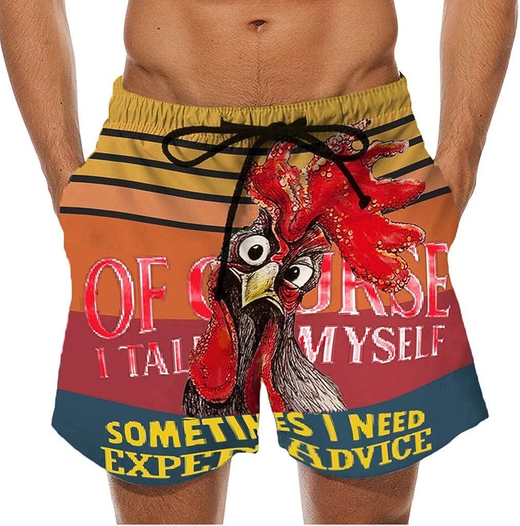 VEKDONE Mens Funny Swim Trunks Beachwear Drawstring Summer Holiday 3D Graphic Cock Print Casual Summer Swimming Shorts