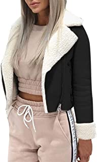 Jackets for Women, Ladies Solid Lapel Suede Leather Buckle Cool Pilot Jacket Faux Lamb Wool Motorcycle Outwear