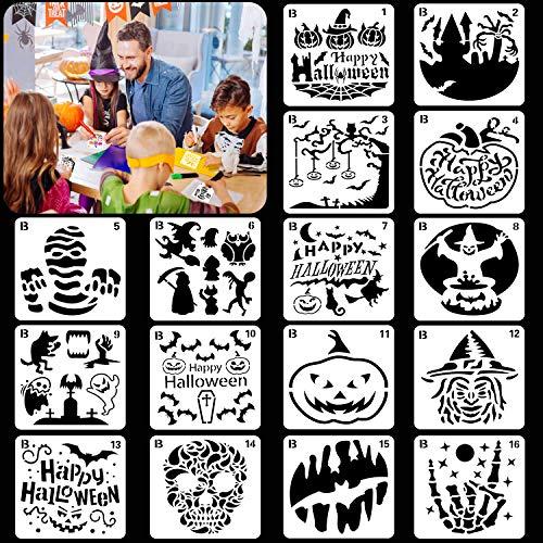 HOWAF 16pcs Halloween Schablone Set für Kinder Basteln Malen DIY Scrapbooking Zubehör, Wiederverwendbar Kunststoff Zeichenschablonen Stencil , Schädel Kürbis Hexe Schloss Fledermaus Mumie Schablone