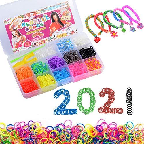 QUETA Bandas de telar, juego de inicio de bandas de telar, bandas elásticas de bricolaje, dispositivo de tejido a mano de colores, juego de caja de pulsera trenzada de bricolaje, 600 bandas el
