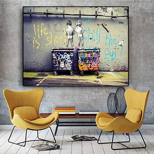 """Banksy Street Art""""Life Is Short Chill Duck"""" carteles e impresión Graffiti lienzo pintura cuadros de pared para decoración del hogar 30x40 cm sin marco"""