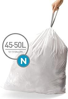 simplehuman Code N Custom Fit Drawstring Trash Bags, 45-50 Liter / 12-13 Gallon, 3 Refill Packs (60 Count)