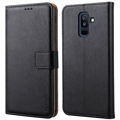 """Preisvergleich Produktbild Peakally Samsung Galaxy A6 Plus 2018 Hülle,  Premium PU-Leder Tasche Flip Wallet Schutzhülle [Standfunktion] [Kartenfächern] [Magnetischen Verschluss] Handyhülle für Samsung A6 Plus 2018 6.0""""-Schwarz"""