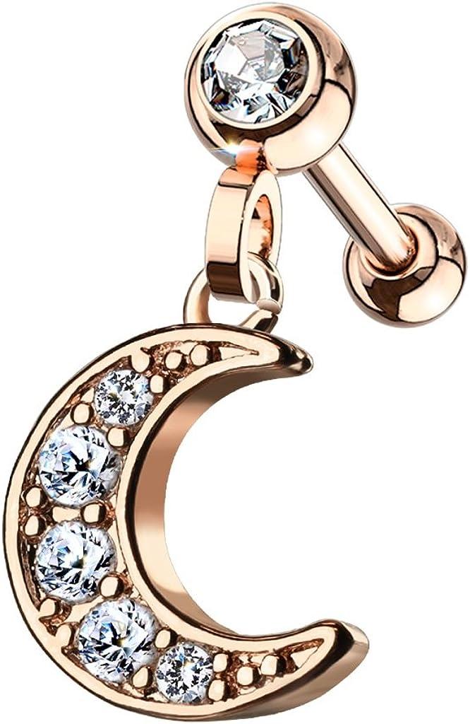 Pierced Over item handling Owl 16GA Stainless Steel Moon Under blast sales Crystal CZ Crescent Paved