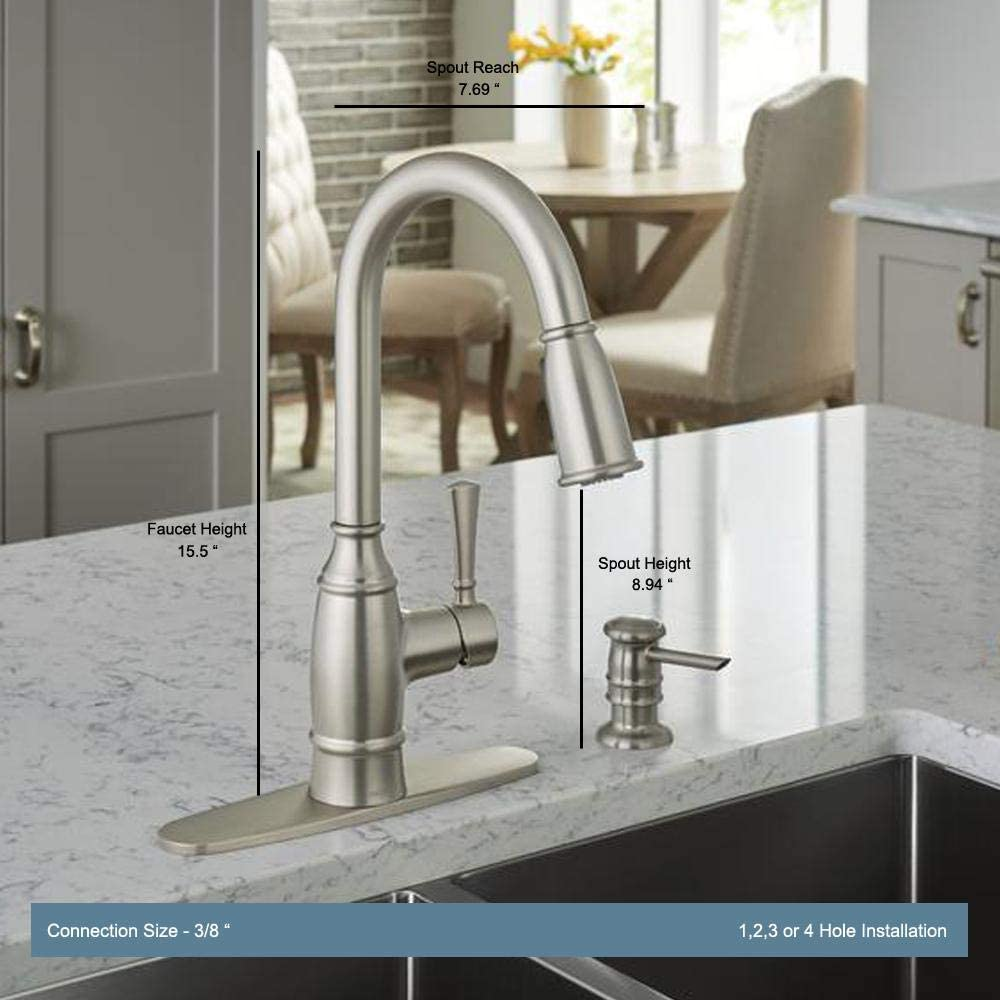 Amazon Com Moen Noell Single Handle Pull Down Sprayer Kitchen Faucet With Reflex And Soap Dispenser In Spot Resist Stainless Health Personal Care
