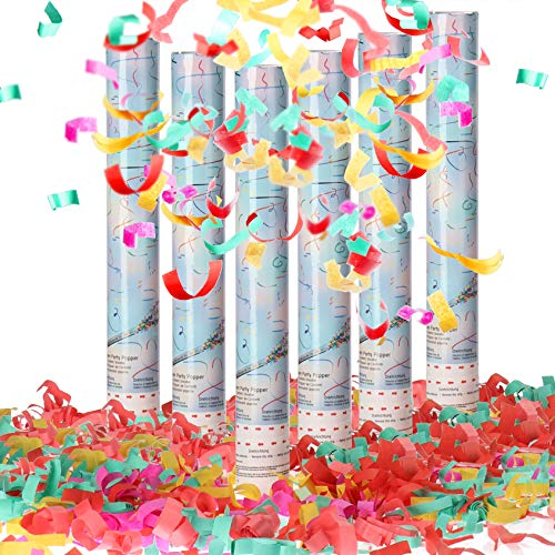 com-four® 6X Shooter Géant XXL Party Popper Set 40cm - Canons à Confettis pour Le Nouvel an et Les fêtes - Bombe à Confettis avec 6m de Hauteur