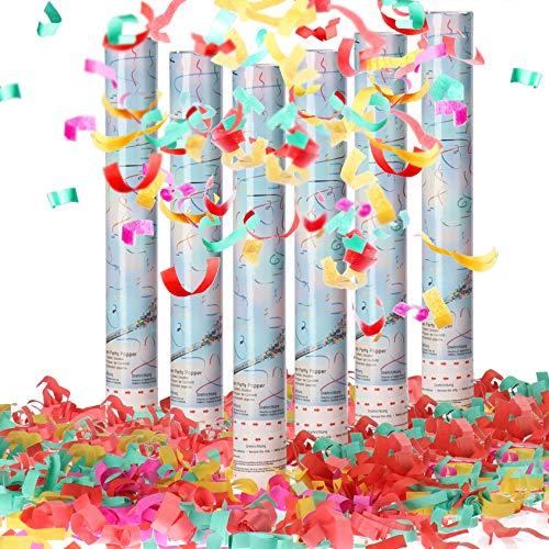com-four® 6X Ensemble Popper 40cm Giant XXL, Groupe de confettis-canons pour Le réveillon du Nouvel an, fêtes, Anniversaires, Bombe à confettis avec Une Hauteur d'effet 6 m