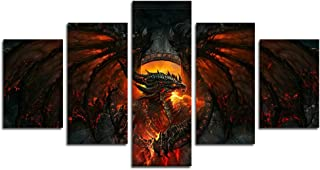 AtfArt 5 Piece World of Warcraft Cataclysm Painting for Living Room Home Decor Canvas Art Wall Poster (No Frame) Unframed ...