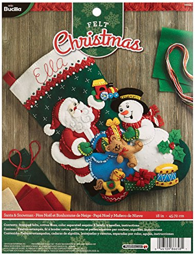 Bucilla Santa and Snowman Felt Applique Stocking Kit, 18-Inch