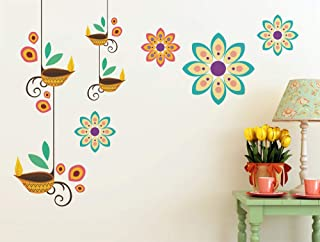 Prodecals Wall Sticker for Living Room Modern Hanging Art Deeps with Flowers (Wall Covering Area : 90 X 65 cms, Multicolou...