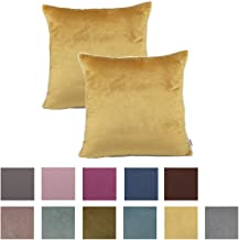 Queenie - 2 Pcs Solid Color Chenille With White Piping Decorative Pillow Covers Throw Pillow Case Available In Different Colors (17.75 x 17.75 Inch (45 x 45 Cm), Mustard Yellow)