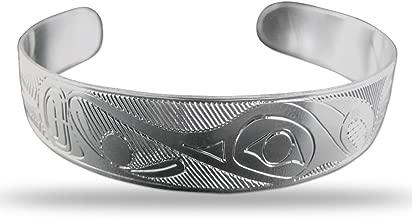 Sterling Silver Hummingbird Pacific Northwest Coast Native 1/2 Inch Wide Bracelet
