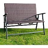 Exclusiv Alu GEFLECHT GARTENBANK klappbar   mit Armlehnen   Klappbank Sitzbank   116 x 95 x 66 cm Belastbarkeit bis 200 kg ~KDS