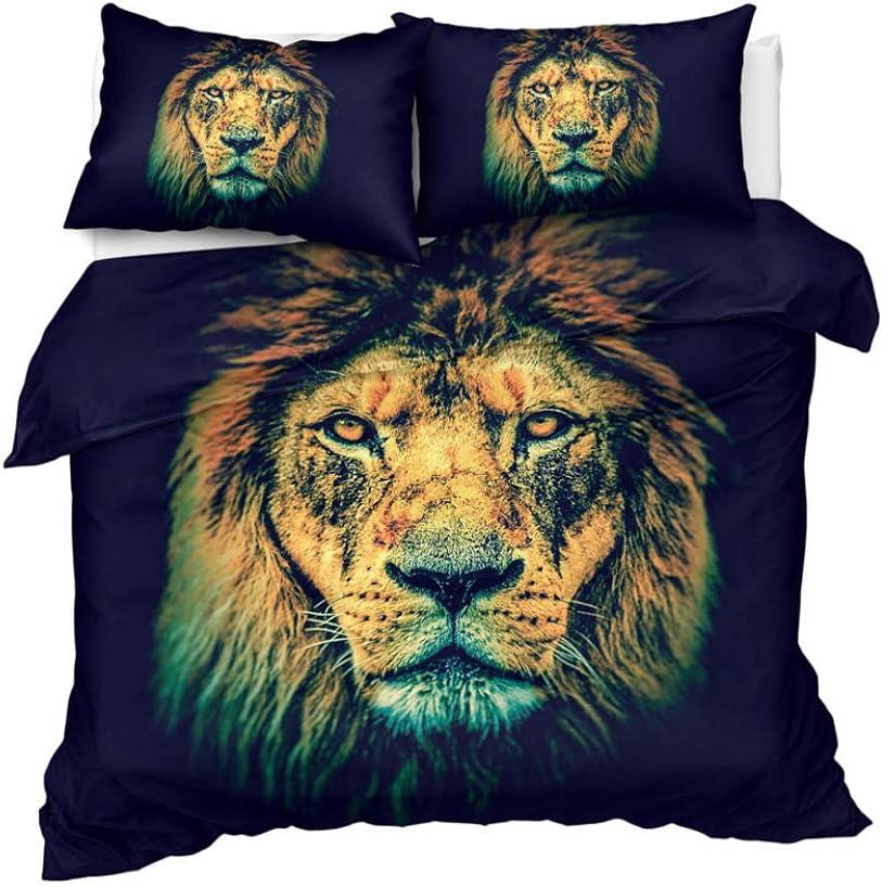 Denver Mall Duvet Arlington Mall Cover King Black Lion 3D Easy Care 104x Bed Set Cosy Soft