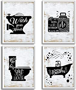 Bathroom Signs Nostalgia Funny (Set of 4 Unframed - 8 x 10 Inches), Bathroom Typography Wall Decor Prints,Vintage Planks Unframed White and black Great Gift for Bathroom Decoration