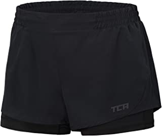 TCA Women's Perform 2-in-1 Running Shorts with Inner Compression Short and Zip Pocket