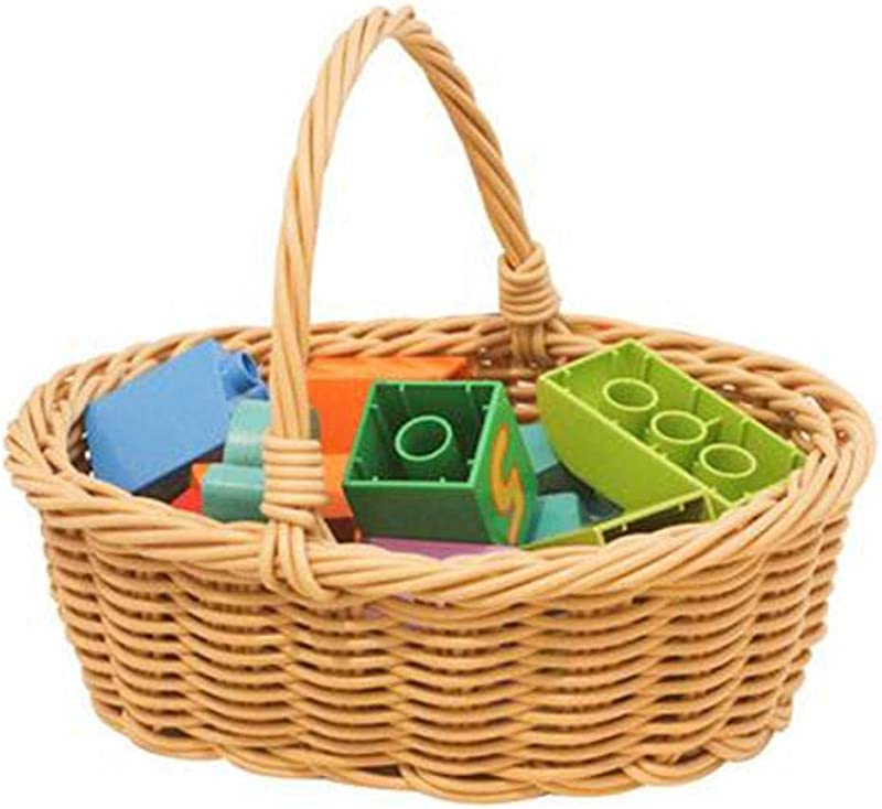 Gereton Toy Storage Organizer Basket Willow Wicker Handmade Weaving Basket With Handle For Home Nursery Kids