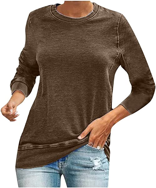 Funnygals Casual Women S Long Sleeve Crewneck T Shirt Pure Color Plus Size Sweatshirt Lightweisht Tops 6 Colors S 5XL