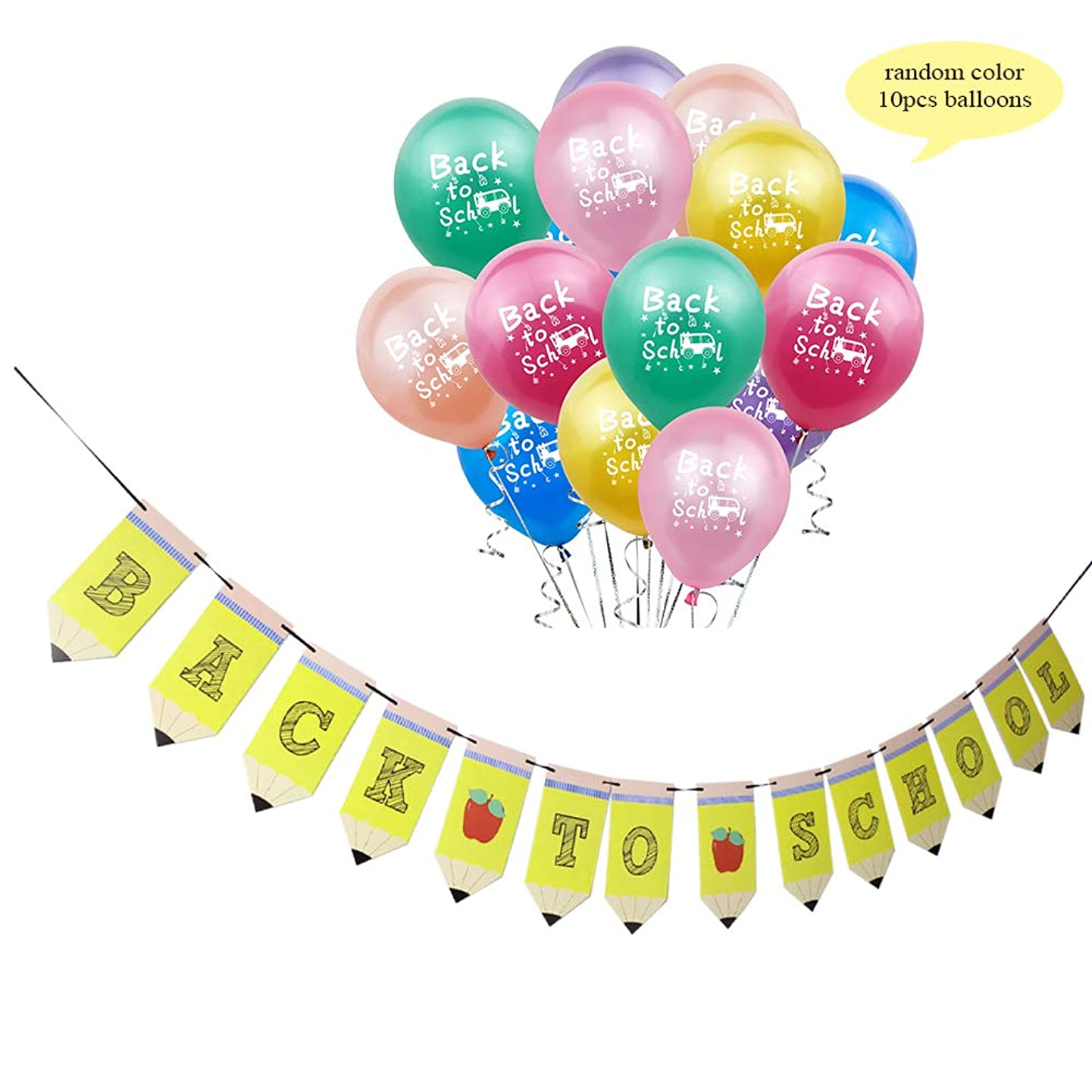 Pencil Back to School Banner Party Decorations with Colorful Bus Balloons for New Grade Welcome Class Celebration