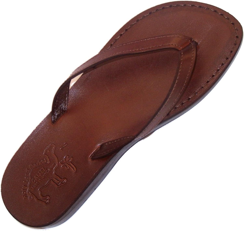 Holy Land Market Unisex Genuine Leather Biblical Flip Flops (Jesus - Yashua) Jericho Style