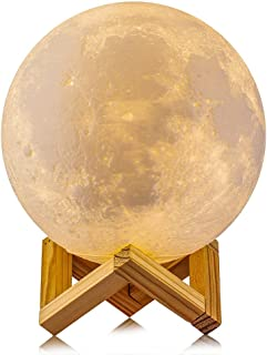Full Moon Lamp, Umiwe Rechargeable LED 3D Printing Moon Lamp Light Romantic 12cm/4.72in Desk Lamp Lunar Light with 3 Colou...