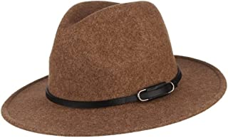 KCBYSS Wide Brim Wool Felt Hat for Women New Warm Autumn Winter Hat Jazz Cap with Buckle Leather Band (Color : Brown, Size : 56 58cm(Adjustable))