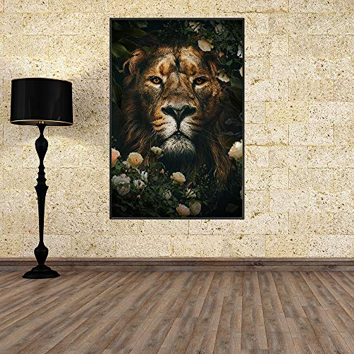 Mubaolei Animal León Lienzo Pintura Pared Arte nórdico impresión Cartel de Creatividad imágenes para decoración de Sala de Estar 60x80cm