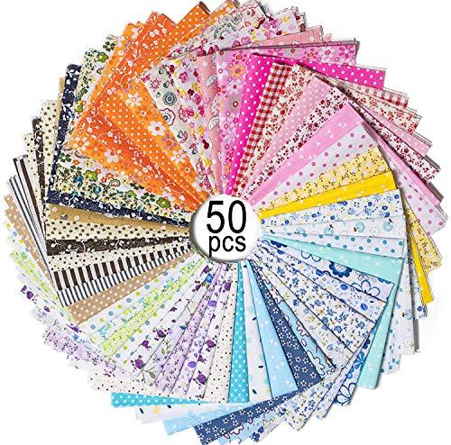 MOOKLIN ROAM 50 Pezzi Tessuto Cotone, Stoffa Patchwork Tessuti a metraggio, Scampoli Stoffe per Cucito Creativo al Metro per Bambini Fai da, 25 x 25 cm, Colore Casuale