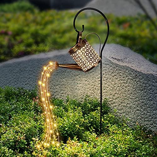 Prosperveil LED Gießkanne Lampe, Stern Dusche Gartenleuchten, Nachtlicht,Gießkanne Lichterkette,Romantische Dekorative Lichter für Hof, Garten, IP44 Wasserdichte (Halterung + Dusche + Gießkanne)