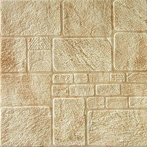 YANGMAN Piedra Pared Textura 3D Espuma en Relieve Bloques de Piedra de Color Amarillo Claro Paneles de…