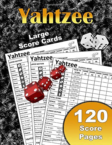 Large Yahtzee Score Cards: Large Print Size 8.5 X 11 In 120 Score Pages | Yahtzee Score Cards | Yahtzee Game Score Cards