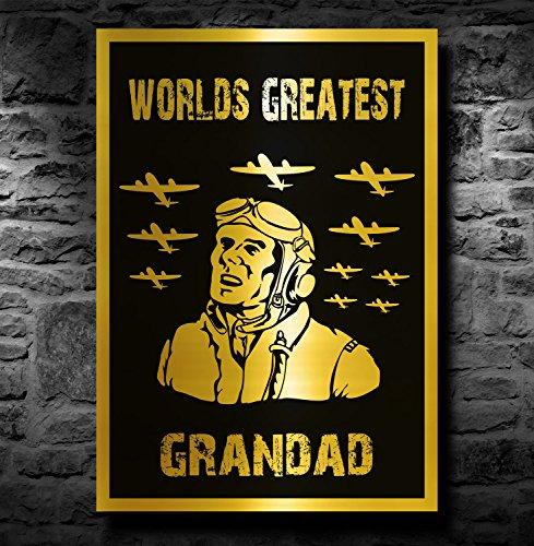 Spitfire/Vliegtuig A4 Metallic Goud Print (Unframed) - Werelden Grootste Opa