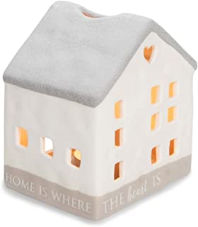 Pavilion Gift Company 86201 Love Lives Here - Home is Where The Heart is Porcelain House Candle Holder