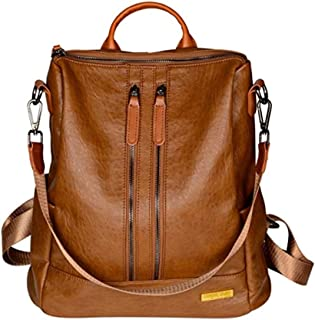 PYFauDD Women Backpack PU Leather Fashion Personality Retro Rucksack Travel Casual Detachable Covertible Daypacks Shoulder Bag Leisure Travel (Color : Brown)