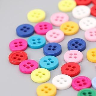 LEJIA Botões redondos de resina com 4 furos e cores mistas para costura e scrapbook de 9 mm