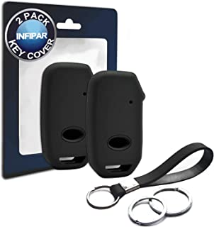 INFIPAR 2pcs Compatible with Smart 2019 2020 Kia Forte Black Silicone FOB Key Case Cover Protector Keyless Remote Holder for 2019 2020 Kia Forte EX FE GT Line Sedan 4 Door Smart 4 Buttons