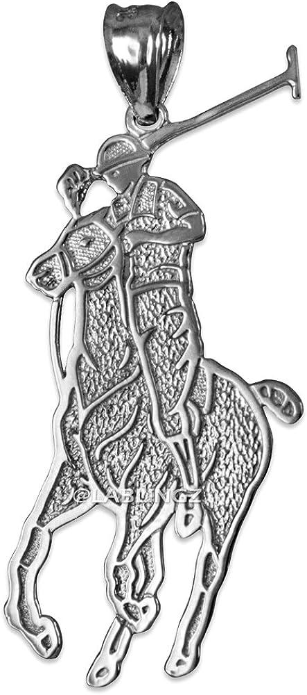 LA BLINGZ 14K White Gold Polo Horse Rider Charm Pendant